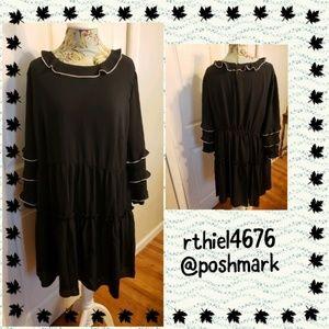 Who What Wear Black Ruffle Dress